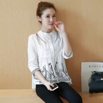 National Wind embroidered New style Women's cotton shirt (White)