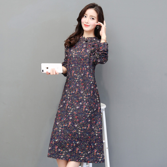National Wind Linen autumn New style long-sleeved dress (Dark blue color)