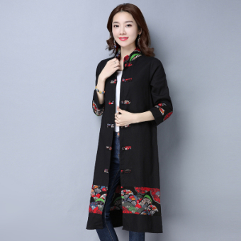 National Wind Linen long section Plus-sized long-sleeved cardigan dress (Black)