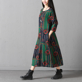 National Wind Linen New style Print dress (Green bottom flower)