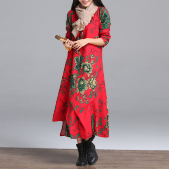 National Wind Linen Print not rule dress Dress (Red color)