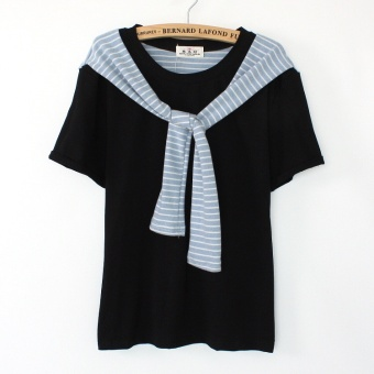 Navy style straps striped summer bottoming shirt T-shirt (502 # paragraph black)