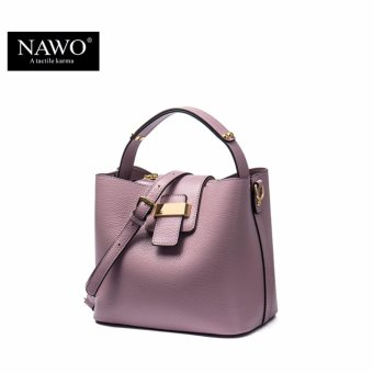 NAWO Women's Genuine Cow Leather Fashion Top-handle Bag Pink - intl Price Philippines