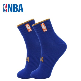 NBA Men's Athletic Combed Cotton Socks - Solid Color (Gem blue/SUN orange)