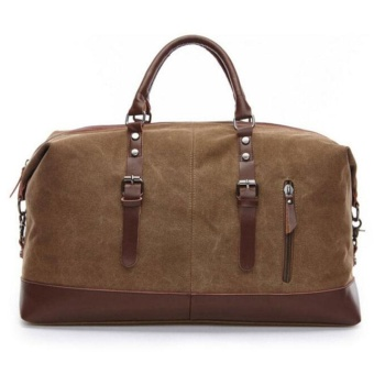 New 2012 Large Capacity Canvas & Leather Travel Duffel Bag Handbag Messenger Bag Coffee - intl Price Philippines