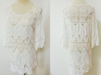 New 2016 Summer Sexy O-Neck Cover Up Women Beach Dress TunicOpenwork Crochet Blouse Fashion Quarter Sleeve Bikini Beachwear - 5