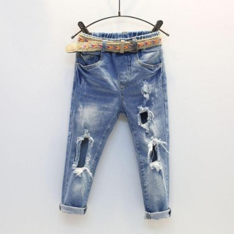 New 2017 Spring Kids Girls Hole Jeans Trousers Children Boys RippedJeans Kids Fashion Denim Pants Baby Casual Jean Infant Boys - intl