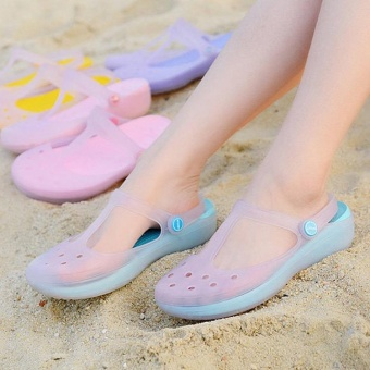 New 2017 Women Sandals color change Mary Jane shoes Summer crocBeach jelly shoes flat sandals woman Slides(Blue) - intl Price Philippines