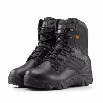 New Army Tactical Desert Mens Leather Combat Boots Military Shoes Soldier BLACK - Intl