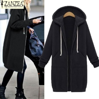 New Arrival ZANZEA Winter Coats Jacket Women Long Hooded Sweatshirts Coat Casual Zipper Outerwear Hoodies Plus Size (Black) - intl