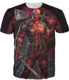 New Arrive American Comic Badass Deadpool T-Shirt Tees Men WomenCartoon Characters 3D t shirt Funny Casual tee shirts top - intl