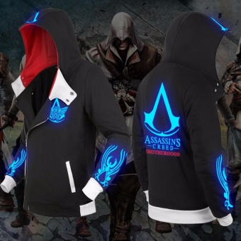 New Autumn Winter Fashion Assassin Creed Luminous Hoodie Zipper Sweatshirt Cool Hoodies Unisex Cosplay Costume Jacket Coat - intl