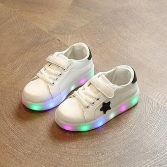 New Boys Girls Child Sneaker Sports LED Night Flash Lights Up StarsCausal Shoes I119 White - intl
