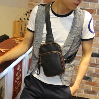 New Cowhide Leather Men's Chest Bag Satchel Diagonal Sling Bag Leisure Crossbody Bag Retro Male Wallet (Black) - Intl
