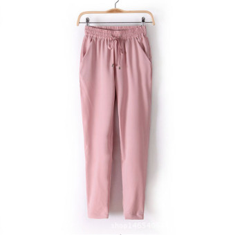 New European Candy Color Casual Harem Pants -Pink Price Philippines