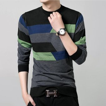 New Fall Fashion Men's Cotton Round Neck Long-sleeved StripedSweater(Black) - 3