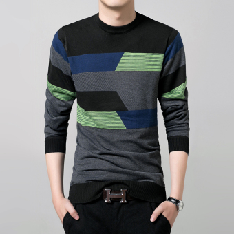 New Fall Fashion Men's Cotton Round Neck Long-sleeved StripedSweater(Black)