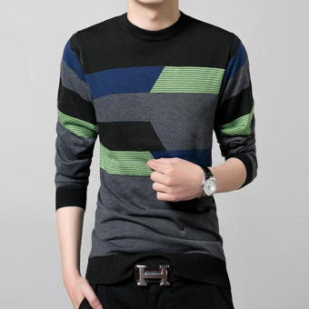 New Fall Fashion Men's Cotton Round Neck Long-sleeved StripedSweater(Black) - 4