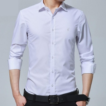 New Fashion Casual Men Shirt Long Sleeve Mandarin Collar Slim Fit Shirt Men Formal Shirts Business Mens Dress Shirts Men Clothes (White) - intl