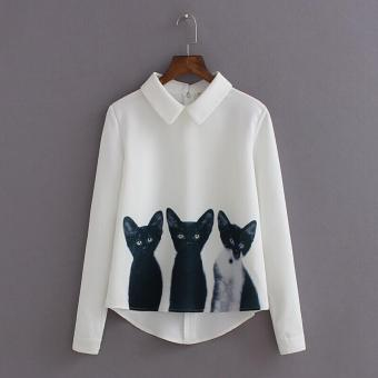 New Fashion Cats Printed Pullover Shirts Long Sleeve Casual Women Korean White Blouse - intl