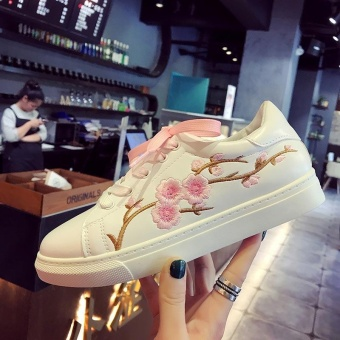 New Fashion Flowers Embroidery Women's Sneakers Gradient Lace-Up Slip-On White Shoes Classical Plate Shoes Color Pink - intl