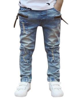 New Fashion Kids Children Boys Elastic Waist Jeans Denim Pants - 4