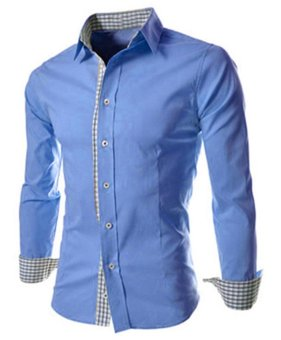 New Fashion Men Shirt Camisa Masculina Long Sleeve Plaid Slim FitCotton Male Dress Shirts Formal Casual Men Clothes M-3XL (Blue) -intl