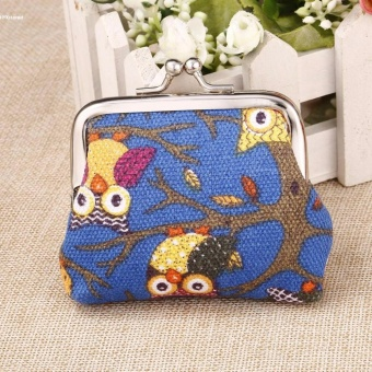 New Fashion Women Girls Lady Canvas Multi-color Owl Pattern CoinMoney Bag Purse Wallet - intl
