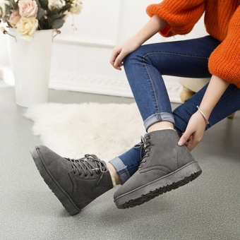 New Fashion Women Round Toe Ankle Boots Shoes Flat With Lace UpBoots(Grey) - intl