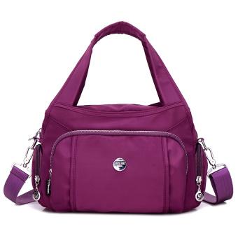 New Korean multi-compartment waterproof nylon shoulder women's bag (Purple)