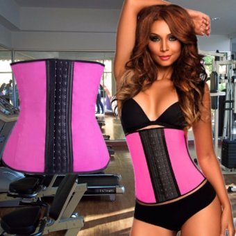 New Latex Woman Waist Trainer Cincher Rubber Corset Body Slimming Clothes S/M (Pink)