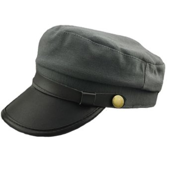 NEW Men Women Army Leather Cap Cadet Military Navy Sailor Flat Top Cotton Hat Price Philippines