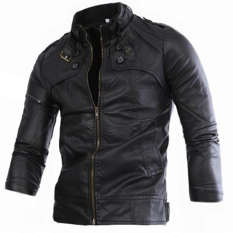 New Men's European And American Style Short Leather Jacket(black) - intl - 2