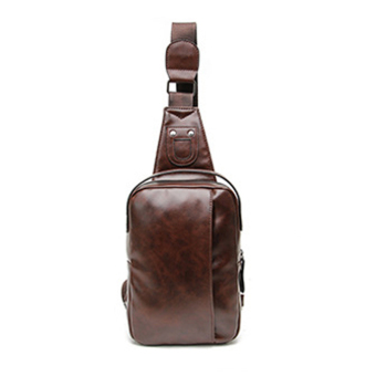 New Men's Leather Small Backpack Sling Chest Cross-body Shoulder Bag Sports Bag