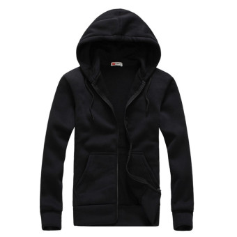 New Men's Hoodies Casual Fashion Solid Color Sportswear Sweatshirts(Black)