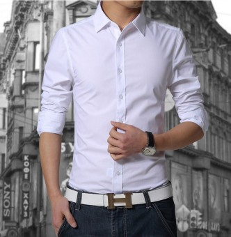 New Mens long sleeve Luxury Casual Slim Fit Stylish Dress Shirtswhite - 2