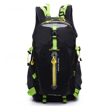 New Outdoor Mountaineering Bag Waterproof Nylon Travel Bag Couple Shoulder Leisure Sports Backpack(Black) - intl