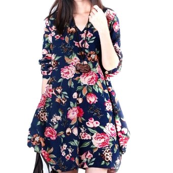 New Sexy Womens Floral Linen Long Sleeve V-Neck Cute Party Evening Short Mini Dress Dark Blue