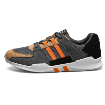 New style autumn casual men's shoes athletic shoes (316 gray orange)