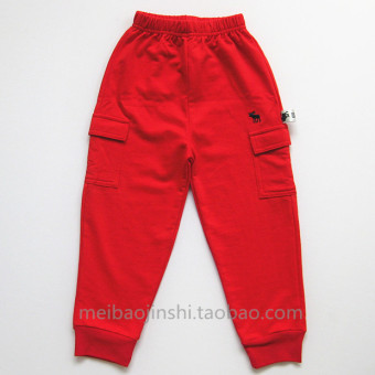 New style boy's spring thin pants cotton casual pants (Red)