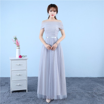 New style bridesmaid dress Dress bridesmaid dress (Gray A-line shoulder can be to do boob tube top wear)