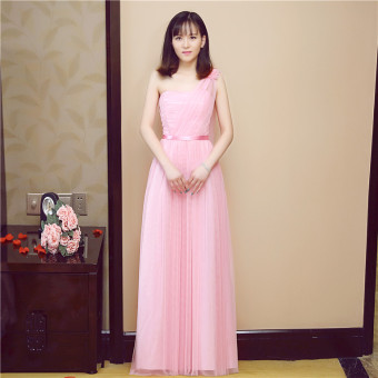 New style bridesmaid dress Dress bridesmaid dress (Pink Ribbon)
