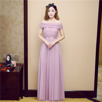 New style bridesmaid dress Dress bridesmaid dress (Red bean paste A-line shoulder can be to do boob tube top)