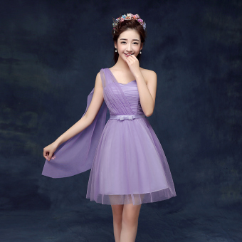New style bridesmaid slimming sisters skirt dress bridesmaid dress (A paragraph purple)