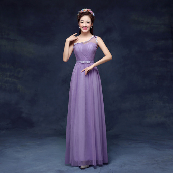 New style bridesmaid slimming sisters skirt dress bridesmaid dress (DL purple) (DL purple)