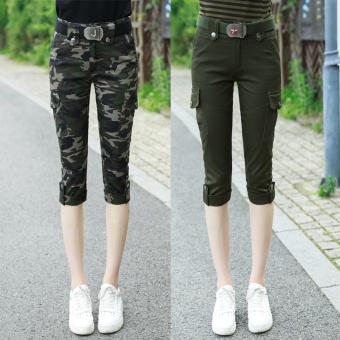 New style camouflage Capri stretch pants Plus-sized pants (Camouflage green suit [Two Sets])