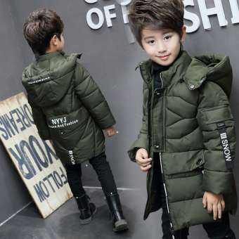 New style children's mid-length jacket boy's coat (Dark green color)