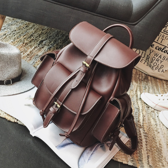 New style contrasting color backpack women's bag (Reddish Brown)