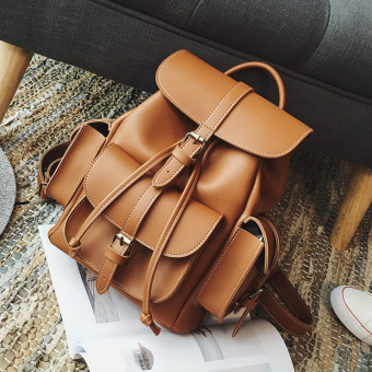 New style contrasting color backpack women's bag (Yellowish-Brown)