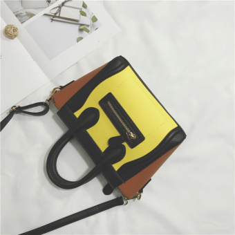 New style contrasting color bag women's bag (Yellow with brown)